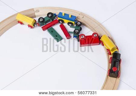 Crashed Wooden Toy Train