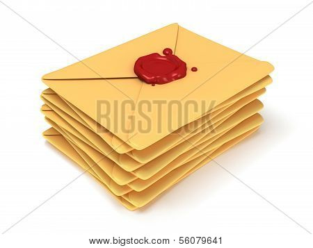 Pile of blank mail envelope with red wax seal