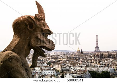 Notre Dam Gargoyle Looking at Eiffle Tower