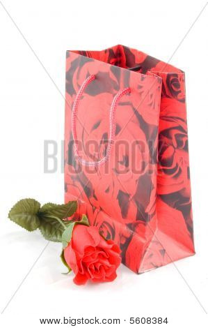 Giftbag With Red Rose