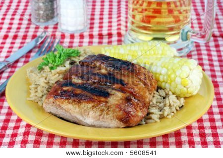 Barbecued Spare Ribs, Corn And Rice