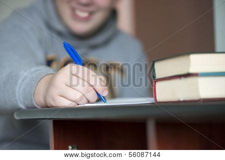 Cute Boy Doing His School Homework