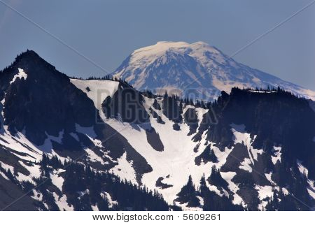 Mount Adams from Sunrise Mount Rainier Snow Mountain poster