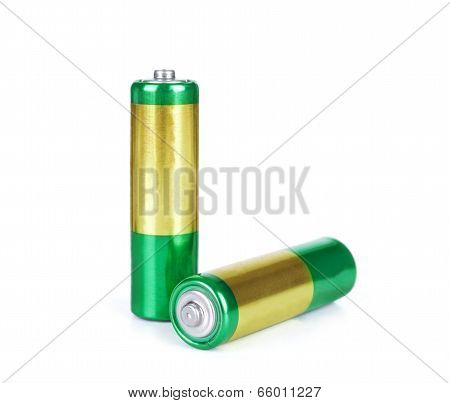 Battery Aa Alkaline Cadmium Chemical Three Isolated On White Background