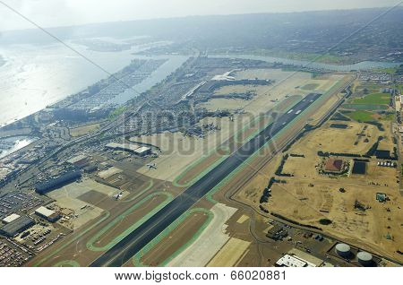 Aerial View Of San Diego Airport