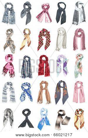 Scarves. Collards of silk scarves