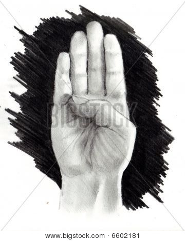 Pencil Drawing of Hand Making Sign for Letter B