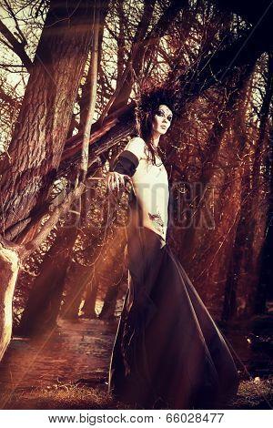 Man-tree in a wild wood. Art project. Fantasy. Halloween.