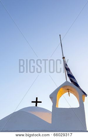 Greek Church Under Blue Sky