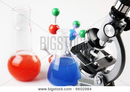 Microscope, Chemistry, Molecular Chain and Flasks