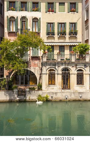 Old riverside building, Treviso, Italy
