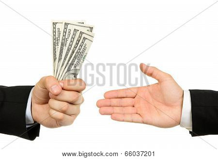 Hand Handing Over Money To Another Hand