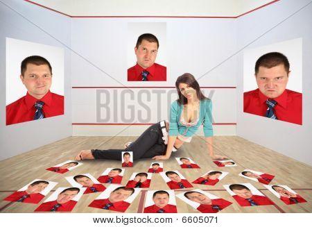 Mädchen mit den Fotos des Mannes, Collage