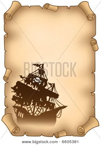 Old Scroll With Mysterious Pirate Ship