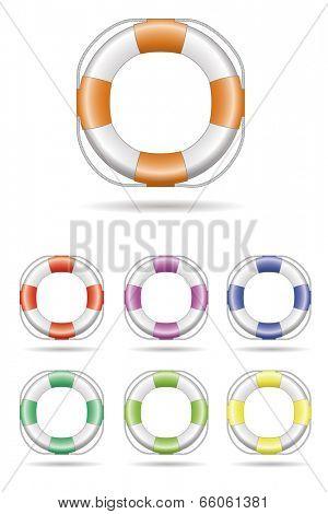 Lifebelt Vector Illustration. Vector Illustration of Lifebelt, seven color variations.