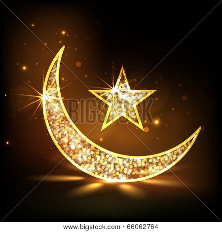 Golden floral design decorated moon and star on shiny brown background for holy month of muslim community Ramadan Kareem.