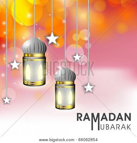 Beautiful greeting card design with hanging lanterns and stars on shiny orange and pink background for celebration of holy month Ramadan Mubarak.