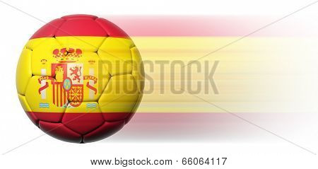 Soccer ball with Spanish flag in motion isolated