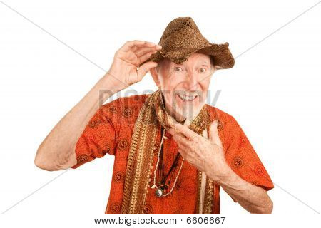 Eccentric Senior Man In Straw Hat