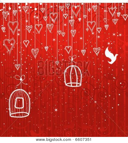 Greeting Card Or Invitation With Hearts And Birds