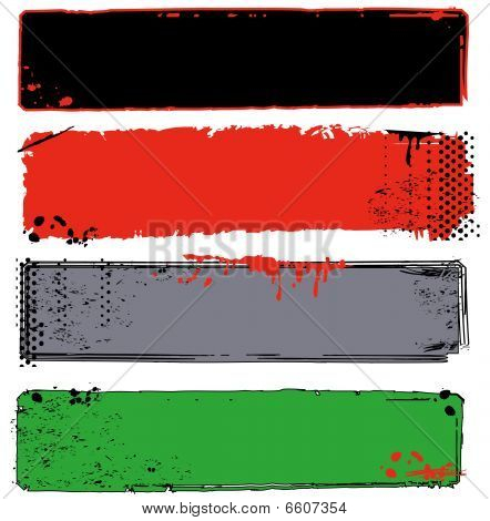 Variety Of Grungy Banners With Halftones And Splatter
