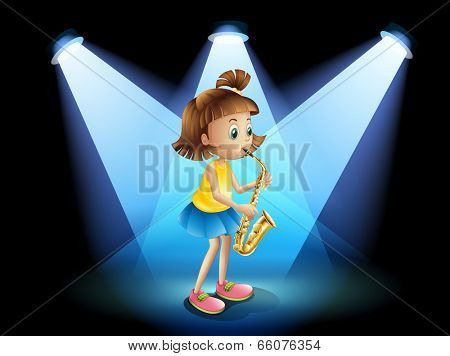 Illustration of a talented girl at the center of the stage