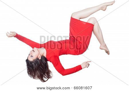 Woman In Red Dress Falls.