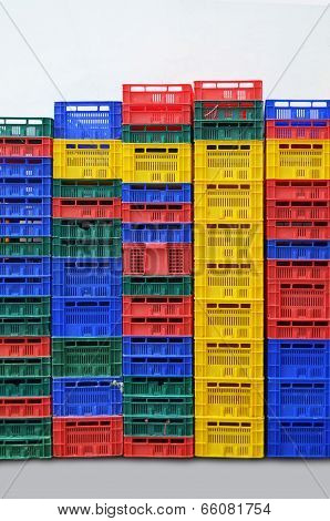 Many Multi Colored Fruit Boxes