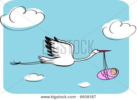 Stork with the kid and blue sky illustration poster