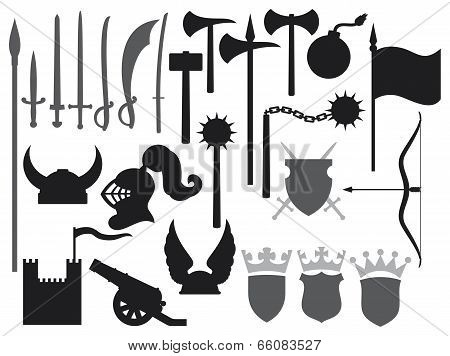 medieval weapons icons vector illustration on white background poster