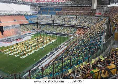 50.000 Teenagers Take Part In A Religious Ceremony At San Siro Stadium In Milan, Italy