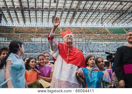 Archbishop Scola Waves 50.000 Teenagers At San Siro Stadium In Milan, Italy
