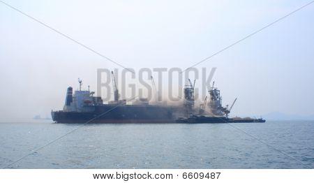 Cargo ship offloading
