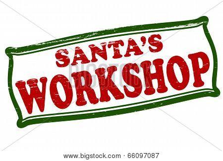 Stamp with text Santa workshop inside vector illustration