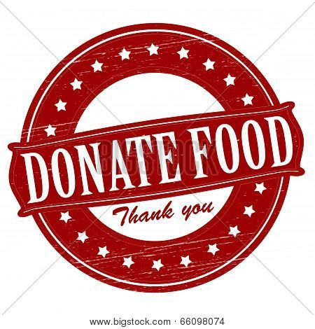Stamp with text donate food inside vector illustration poster