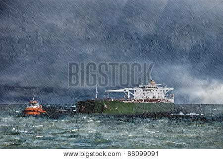 Big ship on sea during a heavy storm with rain. poster