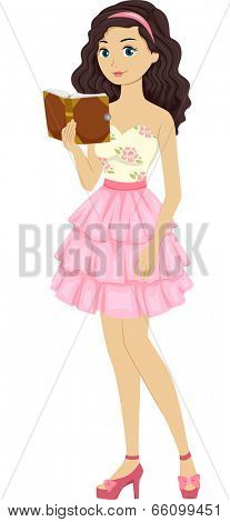 Illustration of a Female Teen Wearing a Cream and Pink Tiered Dress