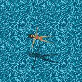 Woman in swimming pool, seamless pattern
