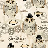 drawn illustration of an owl in style steampunk poster