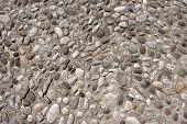 Conglomerate of assorted irregular pebbles and concrete - floor or background poster