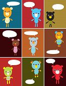 a cute teddy bear collection greeting card poster