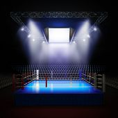 A 3d render illustration of empty professional boxing ring with illumination by spotlights. poster