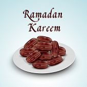 Beautiful greeting card design with fresh dates with stylish text Ramadan Kareem for Iftar Party. poster