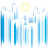 Abstract vector summer cityscape skyscrappers silhouette background poster