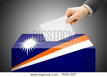 Voting Concept - Ballot Box Painted Into National Flag Colors - Marshall Islands