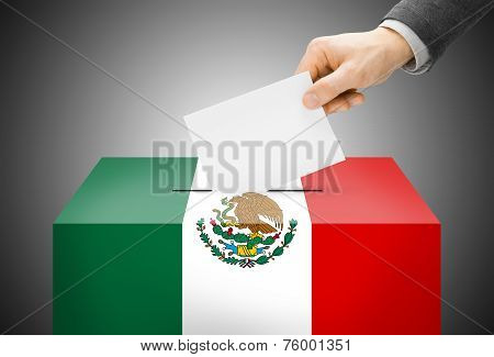 Voting Concept - Ballot Box Painted Into National Flag Colors - Mexico