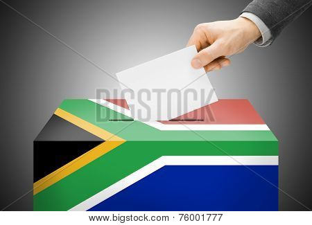Voting Concept - Ballot Box Painted Into National Flag Colors - South Africa