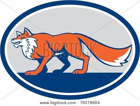 Red Fox Pouncing Side Oval Retro