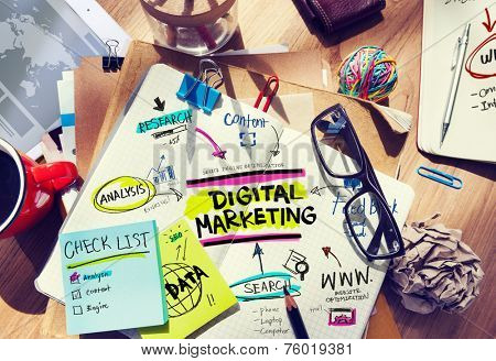 Office Desk with Tools and Notes About Digital Marketing