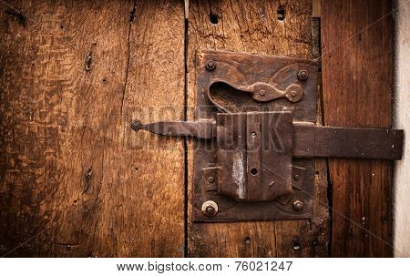 Old Lock Of A Wooden Door's Trullo In Alberobello.